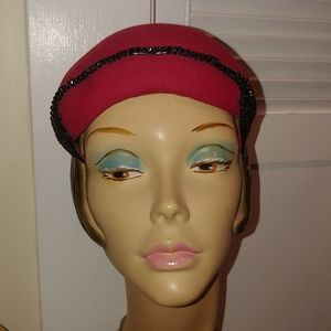 Vintage 1950s Red with Black Sequin Hat